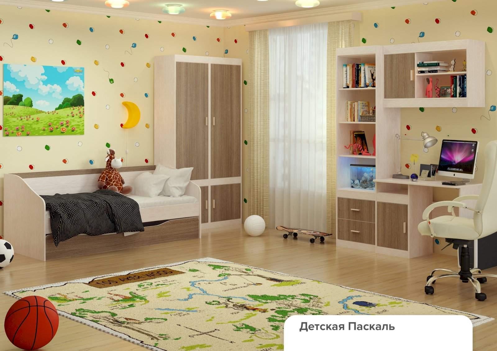 """Детская """"паскаль"""" (модульная) - комплектация 1 с-мебель."""